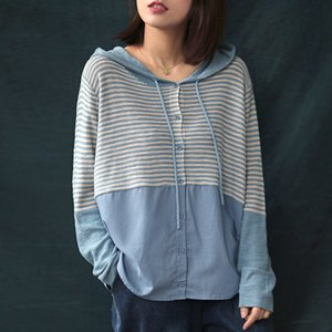 Johnature Knitted Striped Shirts Patchwork Hooded Blouses Women Spring Tops Button Long Sleeve 5 Color Loose Casual Shirts 201201