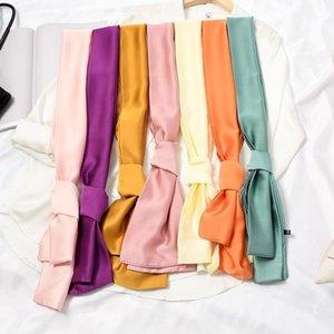 Long Women Neck Scarf Plain Headband Silk Satin Hair Scarf Female 15x140cm Fashion Skinny Bag Scarves For Ladies Beige Pink 20201