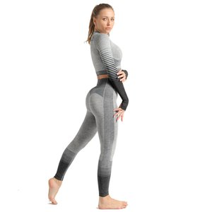 Seamless Knitting Yoga Set Womens Long Sleeve+Pants Fitness Tracksuit Yoga Legging Stripe Workout Gym Clothing Sports Suit Women C0121