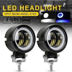 12V-80V Waterproof Round Angel Eyes LED light Portable Spotlights Motorcycle Offroad Truck Driving Car Boat Work Light