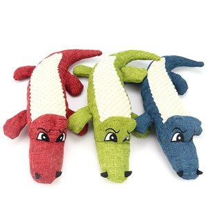 Phonation Dog Toys Simulation Crocodile Wear Resistant Toy Animal Linen Splicing Pet Interactive Supplies 3 Color 29cm 7 5bh G2