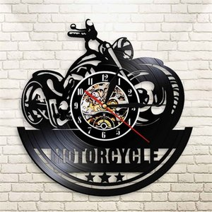 American Motorcycle CD Vinyl Record Wall Clock Quartz Horloge Modern Design Motorbike Garage zegar scienny Man Cave Biker Watch 201202