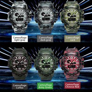 Camouflage Military Watch Men Waterproof Dual Time Display Mens Sport Wristwatch Digital Analog Quartz Watches Male Clock sqcGvy hjfeeling
