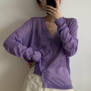 V neck Ribbed Knit Cardigans Crop Knitted Soft Sweater For Women 2020 Summer Short Coat Sunscreen Sweater Purple Cardigan Top