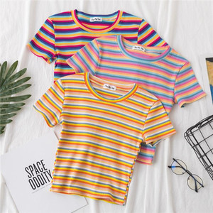 New T Shirt Women Rainbow Striped Tops Slim Fit t shirt Harajuku Tshirt Summer Short Sleeve Korean T shirt feminina Clothes Tops