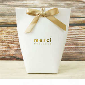 100PCS Kraft Paper White Merci Thank You Cake Boxes and Packaging Wedding Candy Dragees Gift Box Chocolate Wrapping Supplies