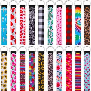 Wristband Keychains Floral Printed Key Chain Neoprene Key Ring Wristlet Keychain Party Favor Festive Party Supplies BWB3032