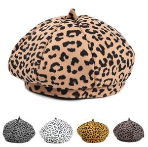 Mujeres Leopardo Beret Chicas Retro Bool Bool Fedora Elegantes Damas Octagonal Cap Bonnet Trilby Beanie Hat Artist Painter Newboy Hat CZ120803