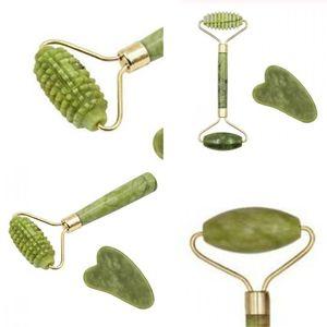 Natürliche Jade Roller Massagegerät Manual Beauty Instrument Classic Massor Stick Guasha Verschrottung Werkzeug Anti Heben Gesichtshaut 5hh D2