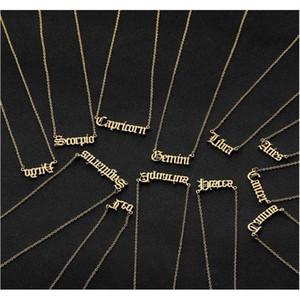 Personalisierter Brief Tierkreis Halskette Constellation Halsketten Custom Edelstahl Alte englische Halskette Geburtstagsschmuck Geschenke YCUFB