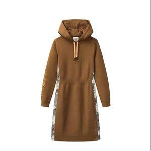Kadın rahat kapüşonlu örme bel elbise yan dikiş elbise ücretsiz kargo