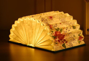 LED خشبي للطي كتاب مصباح المحمولة شاشة الزهور كتاب usb المغناطيسي للماء للطي كتاب أضواء الليل 180 ° مصابيح السرير الجدة