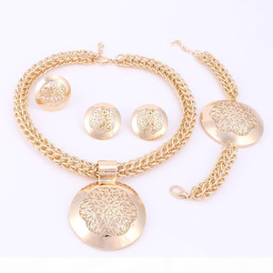 Women Bridal Imitated Crystal African Beads Jewelry Sets For Wedding Party Dress Accessories Set Earrings Pendant Necklace Rings