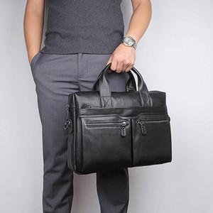 """Luufan Soft Véritable Cuir Businase d'affaires pour homme FIT 14 """"Sac à main pour ordinateur portable noir Soft Soft Cuir masculin Sac"""