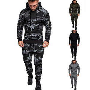 21FW Fahion Camouflage Stampato Mnes TrackSuits Casual Casual Hooded Due Pants Pantaloni Sport Designer Mens 2pcs Set