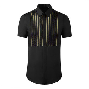 2020 Mens Shirts Luxury Gold Stripe Short Sleeve Casual Mens Dress Shirts High Quality Slim Fit Chain Embroidery Male