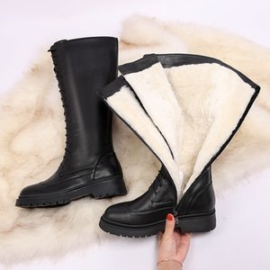MORAZORA New Genuine leather boots women shoes lace up warm winter boots nature sheep wool mid calf boots ladies botas 201123