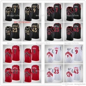 2020-21 Новый Кайл Лоури 7 Serge 9 Ibaka Фред 23 VanVleet Паскаль 43 Siakam баскетбола Город Черный Красный Белый Мужчины Женщины Дети
