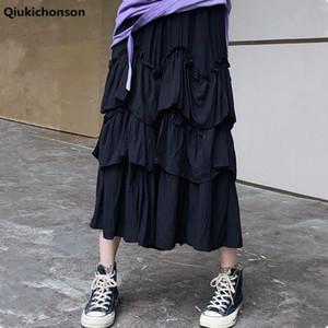 Qiukichonson 미디 롱 스커트 Womens Maxi Skirt Goth Lolita Summer High Waisted Asymmetrical High Low Ruched Ruffle Skirts Rok