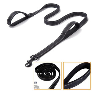 BlackPet Dog Leash Double Hand Traction Rope Large Dog Collar Nylon Belt Double Thickened Reflective Strengthen Traction Harness