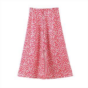 Stylish Chic Floral Print Midi Skirt Women Vintage High Waist Split Buttons Female Skirts 2020 Casual Faldas Mujer