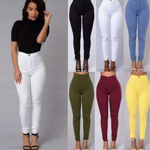 Pantalones de jeans Pantalones de otoño para mujer Señoras 6 colores Longitud completa Cintura alta Casual Chic Jeans Vintage Bolsillos verdes Vintage Denim Slacks W0104