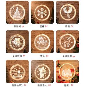 Einzelne 3D Weihnachten hängen Licht Runde Fenster Decortive Schneeflocke Santa Star String Weihnachtsdekor Layout Lichter Party Dekoration