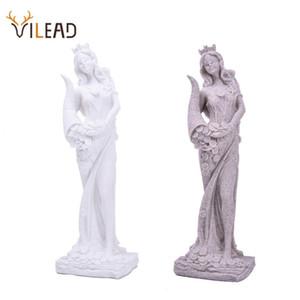 Vilead Sandstone Estátua de Fortune Riqueza Figurines Criativo Deusa Miniatura Branco Estatueta Vintage Home Decor Souvenirs 201210