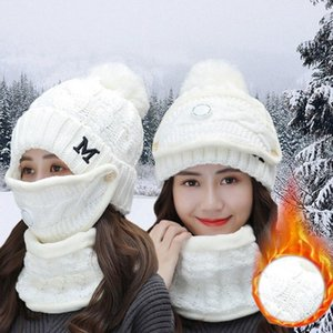 2020 New Girl Wool Knitted Hat Woman Hat Sets For Female Windproof Winter Outdoor Knit Warm Thick Siamese Scarf Warm