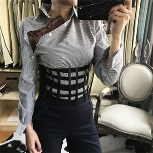 New women ultra wide adjustable slim body shaper black faux leather retro design elastic strap belt Slimming corset 201120