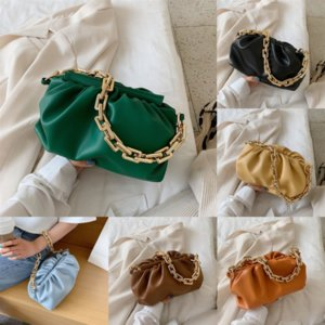 Mulheres Embreagem Bolsa de Bolsa Clipe Chains Bag Mulheres Saco de Ombro Nuvem Nuvem Dumpling Dumpling Day Sacos Plissado Baguette Paper Bag Nuvem Bolsa