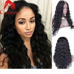 "Full Lace Peruvian Virgin Human Hair Body Wave U Part Wigs For Black Women Natural Hairline Middle Part 2""x4""Upart Wig Glueless"