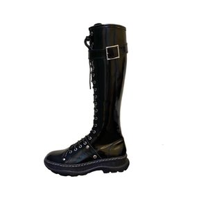 Women Patent Leather Knee High Boots Black Laced Up Platform Long Boots Buckle Fashion Weeks New Style Nightclub Shoes