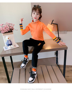 The new winter 2020 children's semi-collared and ocean-style outerwear long sleeve T-shirt winter for girls 110 to 160 size for options