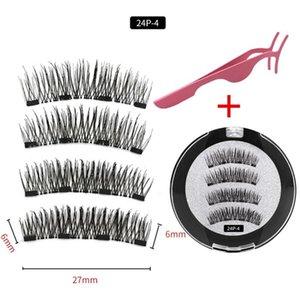 4 pieces of natural magnetic eyelashes, reusable eyelashes, glue-free quantum eyelash curler, easy to wear shipping