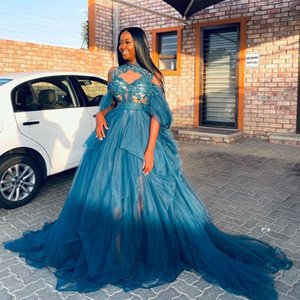 Teal Blue Tulle Prom Dresses High Sheer Neck Lace Appliques Black Girla Party Dress With Sash Beads Sequins Evening Vestidos