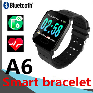 الذكية ووتش A6 بلوتوث يمكن ارتداؤها دفع تذكر عداد الخطى معدل ضربات القلب للماء تلقي المعلومات WeChat QQ SMS سوار الذكية PK 116plus