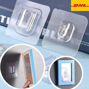 Double Sided Adhesive wall hooks Wall Hanger Transparent Suction Cup Sucker Hook Double-Sided Adhesive Wall Hooks