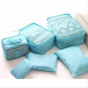 Chaud 6pcs Travel Organizer Bag Vêtements de la fermeture à glissière Solide Pochette Pochette Fashion Portable Cas de stockage Portable Suitcase Amp;