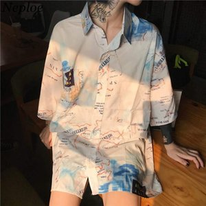Harajuku Streetwear Blouse Shirt 2020 Spring Short Sleeve Turn down Collar Top Digital Printing Woman Man Oversized Shirts