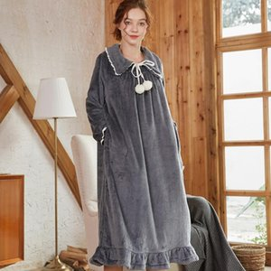 Autumn Nightgowns Sleepshirts 2020 Solid Sleepwear Home Dress Women Nightdress Sleep & Lounge Nightgown Female H351