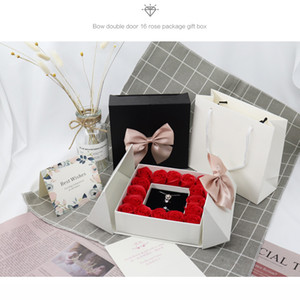 Regalos del día de San Valentín Cajas de embalaje Rose caja de regalo Cajas de joyas 16 Rose Bow Caja de regalo Lápiz labial Anillo Collar Ear Studs XD24293