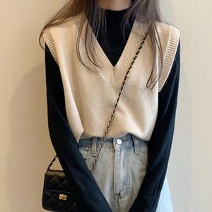 Solid Casual Autumn Winter Women Knitted Sweater Vest V-neck Zevity Joker Female Vests Pullover Sleeveless Short Top Fall Y201128
