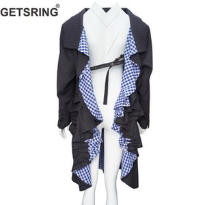 GETSRING Women Blazer Irregular Women Long Blazer Loose Backless Womens Jackets Long Sleeve Plaid Patchwork Coat Spring