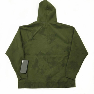 Fashion-T 19FW joint military green suede rotten flower tie dyed hooded sweater hoodie S-XL S