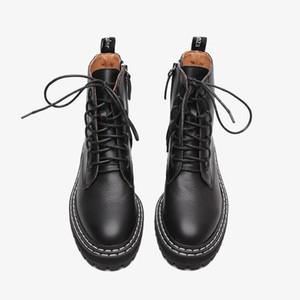 Boussac Black Punk Winter Boots for Women Lace up Platform Martin Boots Women Solid Ankle Women's Designer Botas Mujer