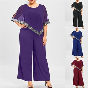 Women Plus Size Jumpsuit Zipper Sequined Overlay Sexy Wide Leg Jumpsuit Casual Elegant party Rompers Body Mujer 3s