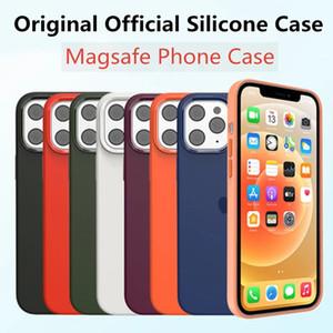 Silicona líquida original magnética con el ejemplo del logotipo para iPhone 12 Pro Max 12 mini Funda suave completa para iPhone 12 Pro Magsafe Case