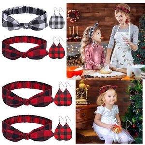 Christmas Família Headbands e Brincos Conjuntos Mãe Pai-Child Crianças Bebê Xadrez Bowknot Cabeça Cabeça Cabeça Cabeça Brincos De Couro Decors E120702