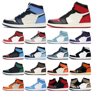 Baskets Hommes Basket Basketball Chaussures 1S High Og Og Obsidienne Twist Unc Court Violet Fumée Gris Chicago Tre Green Tree Teams Sports de sport en plein air